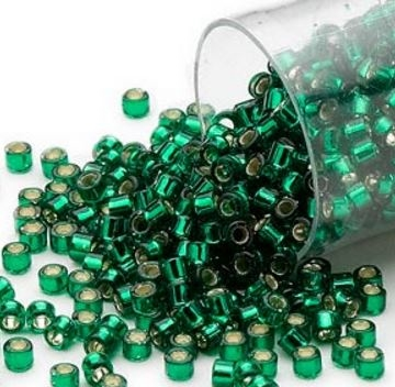 Delica seed beads fra Miuyki i flot silver-lined forrest green, 7,5 gram