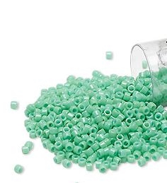 Seed beads, Delica 11/0, duracoat opaque chrysoprase, 7,5 gram. DB2125V
