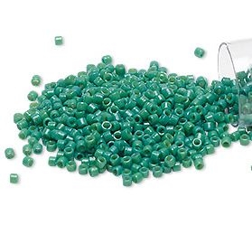 Seed beads, Delica 11/0, duracoat opaque spruce green, 7,5 gram. DB2127V