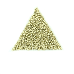 Seed beads, TOHO, 11/0, PermaFinish opaque galvanized yellow gold, 7,5 gram. (TR-11-PF559)