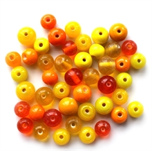 Glasperlemix, 8-12mm, gul/orange, 40 gram