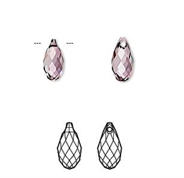 Swarovski, dråbe, 11x5½mm, crystal antique pink, 2 stk.
