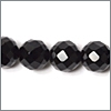 Sort onyx, 10mm, rund facet, streng