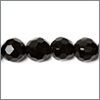 Sort onyx, 6mm, rund facet, streng