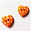 Knapper, hjerteformet, orange, 4 stk