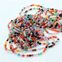 Agat, mix, 3mm, rund facet, 1 streng