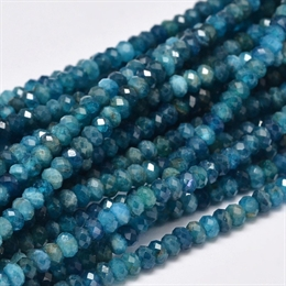 Apatite, 4x3mm, rondel facet, 10 stk.