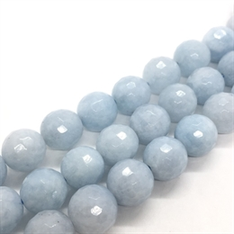 Aquamarine, 10 mm, rund facet, 4 stk.