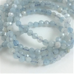Aquamarine, 3mm, rund facet, 10 stk