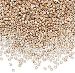 Seed beads, Delica 11/0, mat galvaniseret champagne