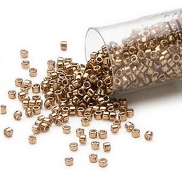 Seed beads, Delica 11/0, metallic light bronze