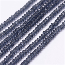 Prussian blue glasperle, linse facet, 2x2,5mm, 1 streng