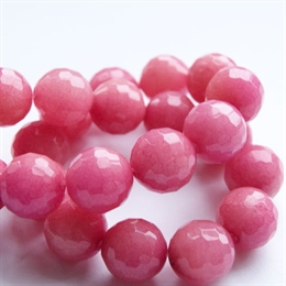 Smuk pink jade, 12mm, facet, 1 streng