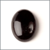 Sort onyx, 12x16mm, oval, cabochon, 1 stk.